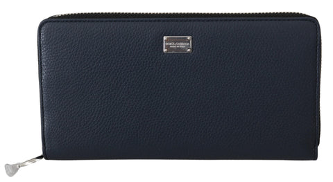 Blue Zip Around Mens Continental Clutch Leather Wallet