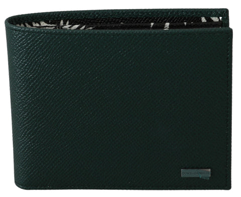 Green Bifold Mens Card Holder Bill Slot  Leather Wallet