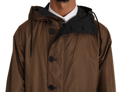 Black Brown Hooded Reversible Raincoat