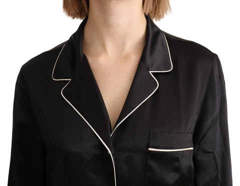 Black Shirt Silk Stretch Top Blouse