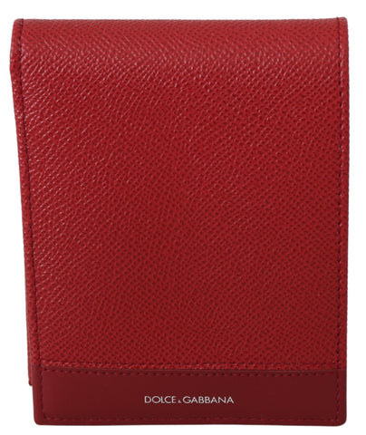 Red Leather Bifold Mens Card Holder Bill Slot Wallet