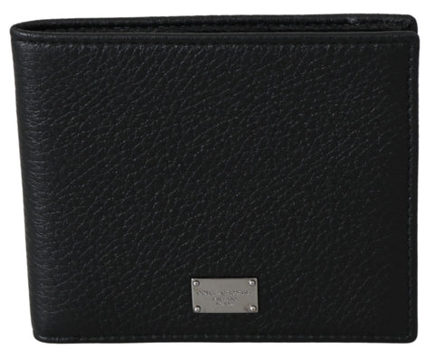 Black Leather Bifold Mens Card Holder Wallet
