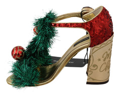 Gold Leather Crystal CHRISTMAS Sandals Shoes