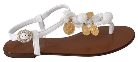 White Leather Coins Flip Flops Sandals Shoes
