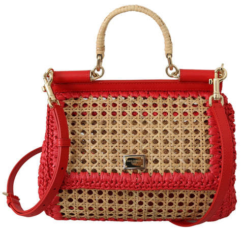 Red Leather Beige Raffia Purse Satchel SICILY Bag