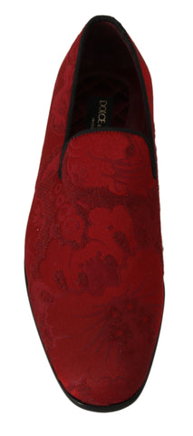 Red Jacquard Loafers Dress Formal Shoes