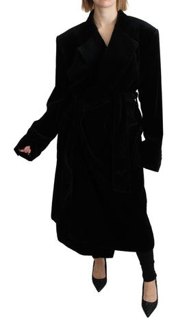 Black Velvet Trenchcoat Cotton Jacket