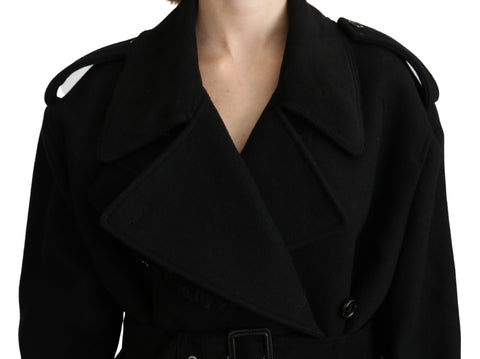 Virgin Wool Black Blazer Trenchcoat Jacket