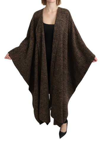 Brown Cape Blazer Coat Wool Blend Jacket
