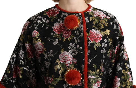 Multicolor Floral Fur Crustal Blazer Jacket
