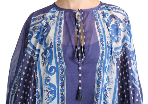 Blue Majolica Cape Maxi Cotton Dress