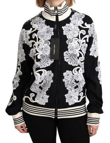 Black Floral Full Zip Bomber Rayon Sweater
