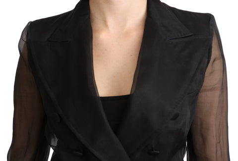Black Double Breasted Blazer 100% Silk Jacket
