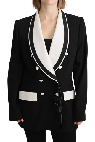 Black Double Breasted Blazer Wool Jacket