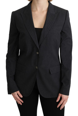 Gray Single Breasted Blazer Cotton Jacket
