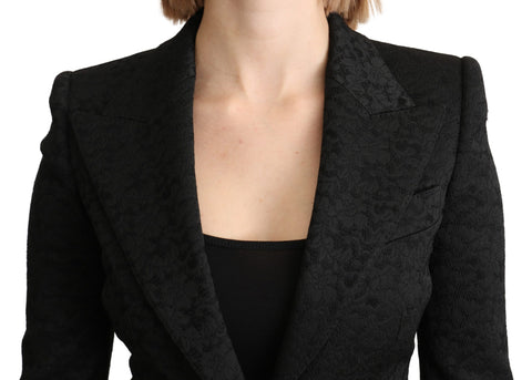 Black Brocade Single Breasted Blazer Jacket