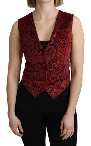 Bordeaux Brocade Waistcoat Vest Cotton Top