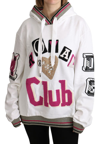 White Royal Club Hooded Crystal Sweater