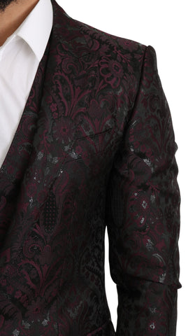 Black Bordeaux Jacquard Floral Slim Fit Blazer