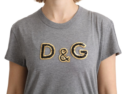 Gray D&G Sequined Crewneck Cotton Top T-shirt