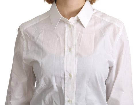 White Collared Formal Dress Shirt Cotton Top