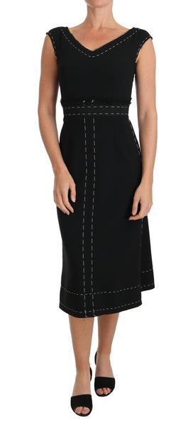 Black Wool Stretch A-line Sheath Dress