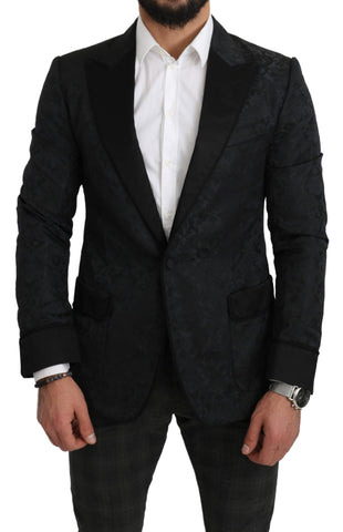 Black Jacquard Slim Fit Peak Floral Blazer