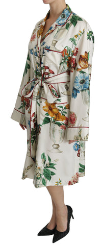 White Floral Shift Midi Robe Silk  Dress