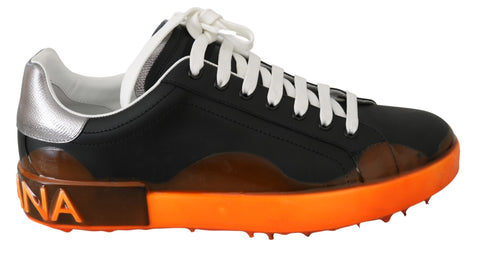 Black Orange Leather Low Tops Sneakers Shoes