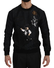 Black Brocade Cowboy Embroidered Sweater