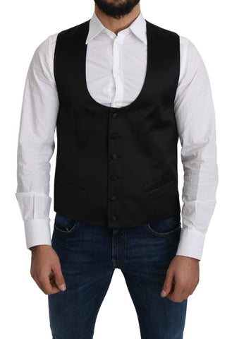 Black 100% Silk Formal Waist Coat Vest