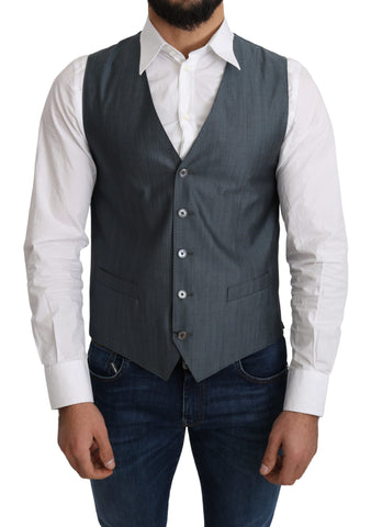Blue Wool Elastan Formal Coat Vest