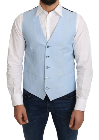 Blue Viscose Stretch Formal Coat Vest