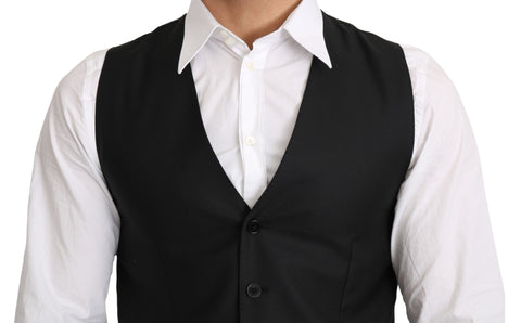 Gray Wool Elastan Formal Coat Vest