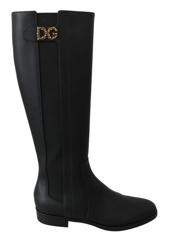 Black Leather Knee High Boots Shoes