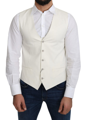 Off-White Cotton Silk Formal Coat Vest