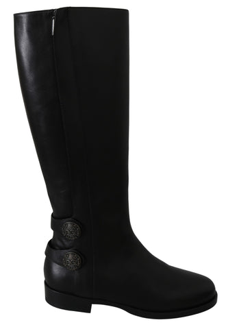 Black Leather Knee High Shoes Boots