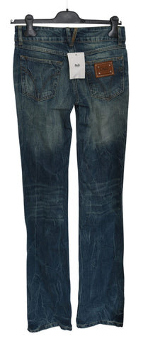 Blue Washed Low Waist Boot Cut Trouser Pant