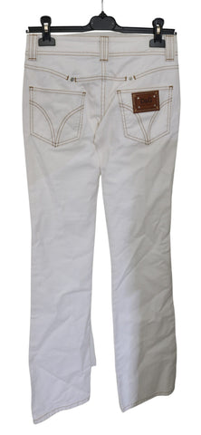 White Low Waist Boot Cut Cotton Jeans
