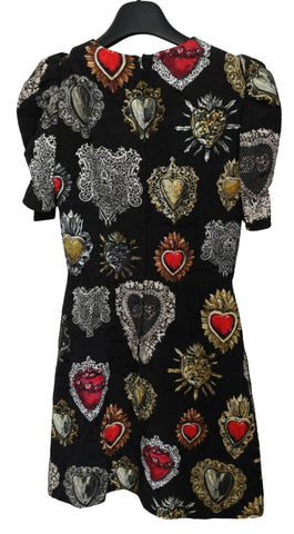 Black Hearts Print A-line Mini Rayon Dress