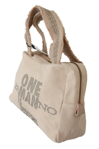 Fabric Canvas Beige Handbag Purse Tote Women Borse Bag
