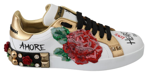 White Roses Leather Crystal Sneakers Shoes