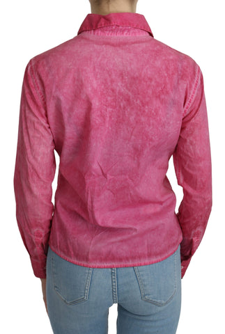 Pink Collared Long Sleeve Shirt Blouse Top