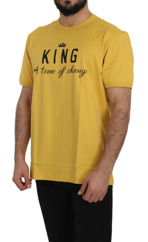 Yellow KING Print Top Cotton T-Shirt