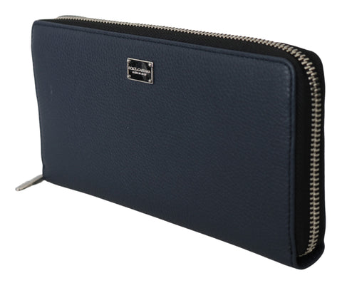 Blue Dauphine Leather Continental Mens Clutch Wallet