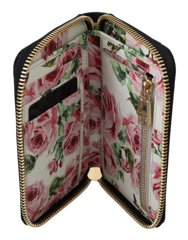 Black Leather Pink Roses Zipper Bill Card Coin Wallet