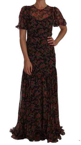 Black Floral Roses A-Line Shift Gown