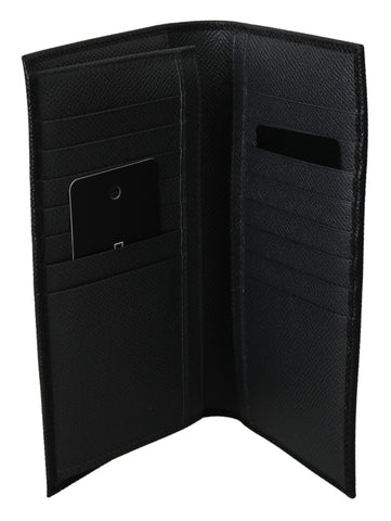 Black Bifold Mens Card Holder Bill Slot Leather Wallet