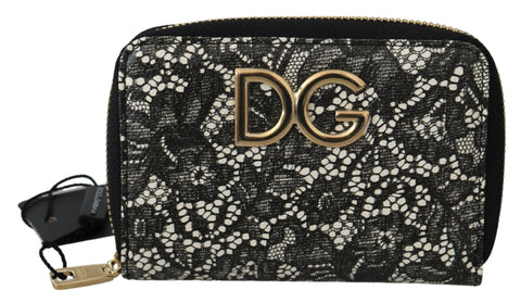 Black White Floral Lace Leather Zip Around Wallet