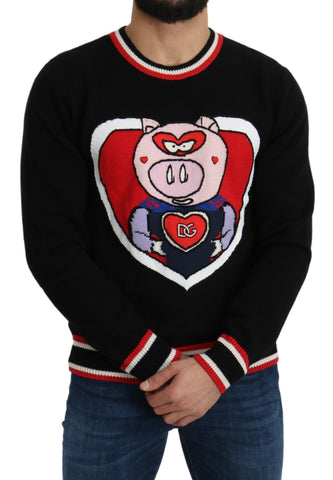 Black Cashmere Pig of the Year Pullover Sweater